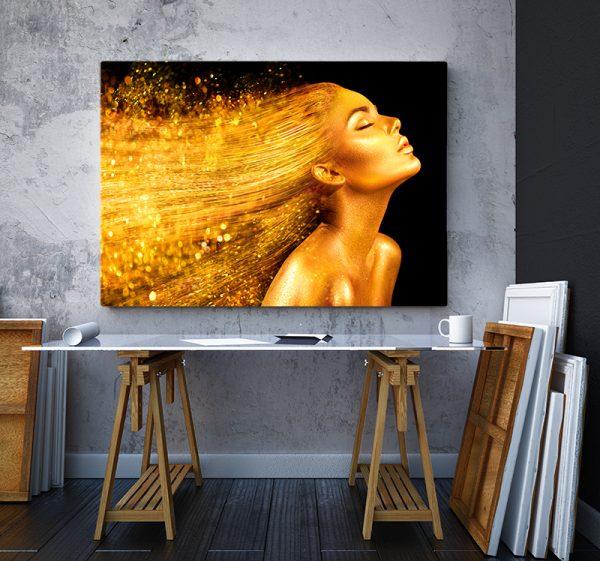 2 tablou canvas Fata aurie