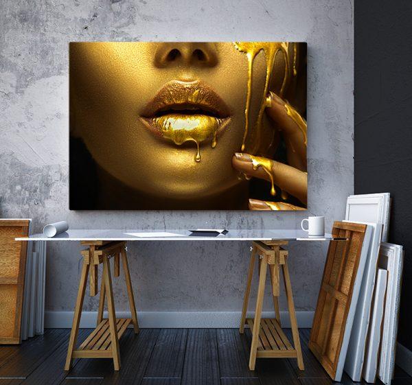2 tablou canvas Fata gold