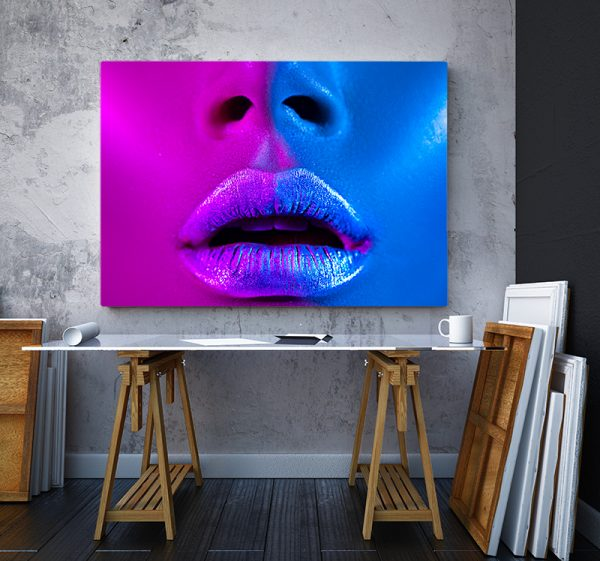2 tablou canvas Fata roz albastru