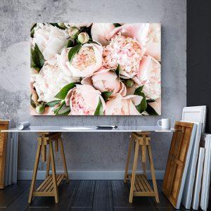 2 tablou canvas Tablou canvas Floral Buchet de bujori roz pal
