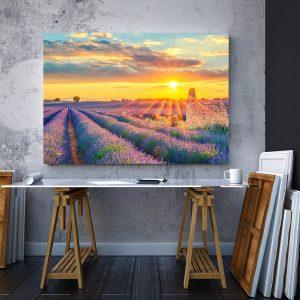 2 tablou canvas Tablou canvas Floral Lan de lavanda la apus de soare