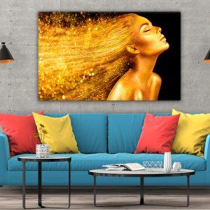 3 tablou canvas Fata aurie