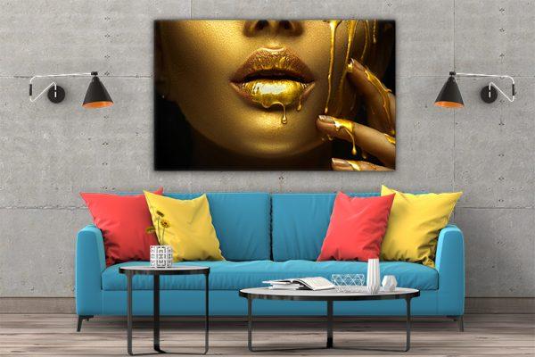 3 tablou canvas Fata gold