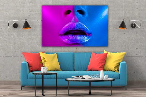 3 tablou canvas Fata roz albastru