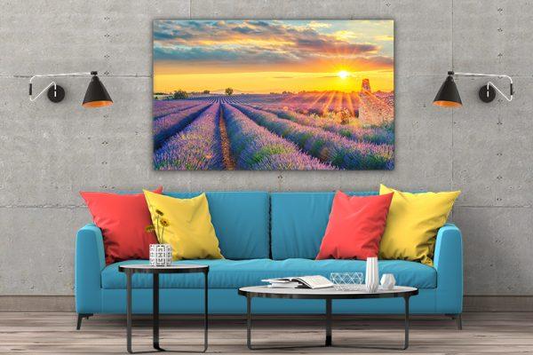 3 tablou canvas Tablou canvas Floral Lan de lavanda la apus de soare