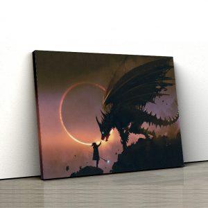 1 tablou canvas Tablou canvas Fantasy Fata si dragonul