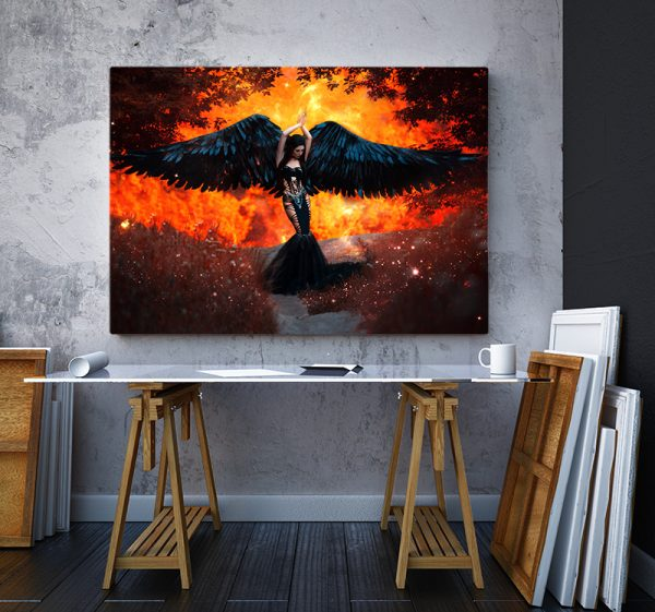 2 tablou canvas Tablou canvas Fantasy Aripi negre