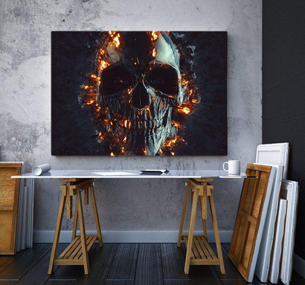 2 tablou canvas Tablou canvas Fantasy Craniu in flacari