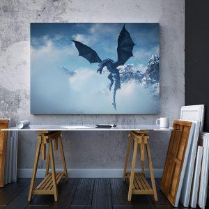 2 tablou canvas Tablou canvas Fantasy Dragon in zlor
