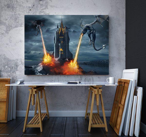 2 tablou canvas Tablou canvas Fantasy Dragoni