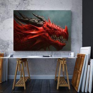 2 tablou canvas Tablou canvas Fantasy Dragonul rosu