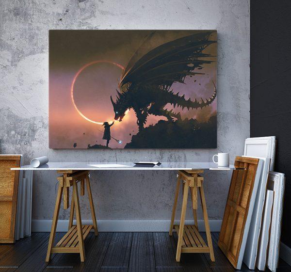 2 tablou canvas Tablou canvas Fantasy Fata si dragonul