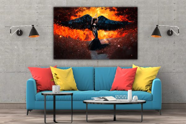 3 tablou canvas Tablou canvas Fantasy Aripi negre