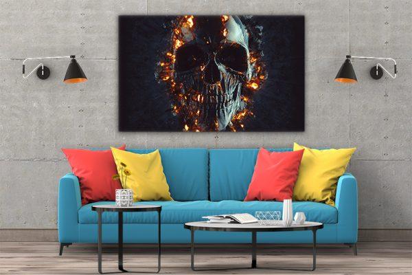 3 tablou canvas Tablou canvas Fantasy Craniu in flacari