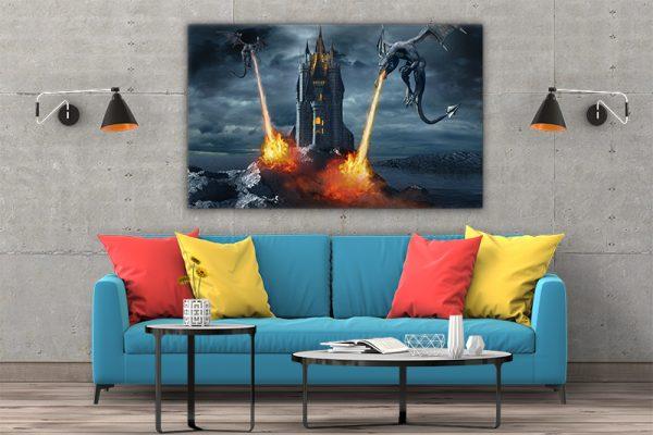 3 tablou canvas Tablou canvas Fantasy Dragoni