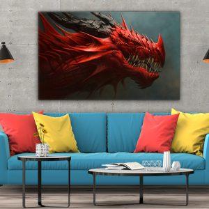 3 tablou canvas Tablou canvas Fantasy Dragonul rosu