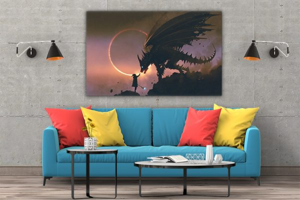 3 tablou canvas Tablou canvas Fantasy Fata si dragonul