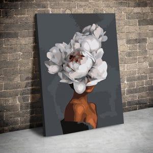 CVS774 Tablou canvas Brown skin white flowerhair 1