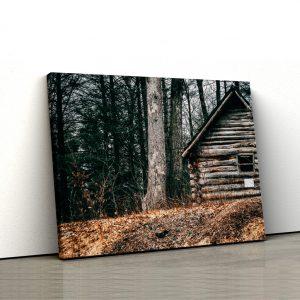 CVS813 Tablou Canvas Peisaj Wooden cabin 1