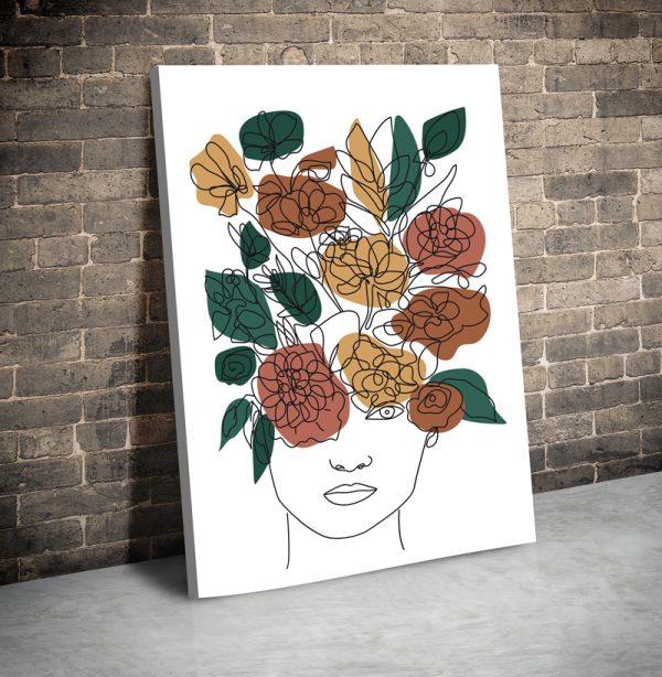 Tablou canvas abstract Linii si flori 1