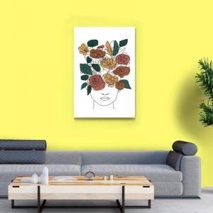 Tablou canvas abstract Linii si flori 3