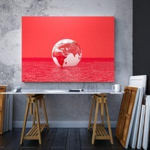 Tablou canvas abstract Luna rosie 2