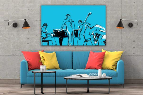 Tablou canvas abstract Muzicieni 3