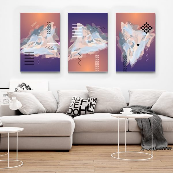 Tablou multi canvas Amestec de linii si culoare 1