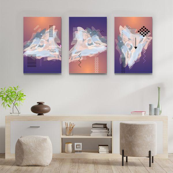 Tablou multi canvas Amestec de linii si culoare 3