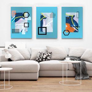 Tablou multi canvas Forme linii si culoare 1