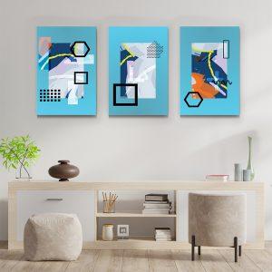 Tablou multi canvas Forme linii si culoare 3