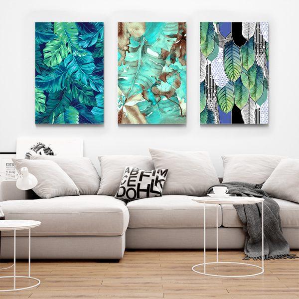 Tablou multi canvas Frunze turcoaz 1