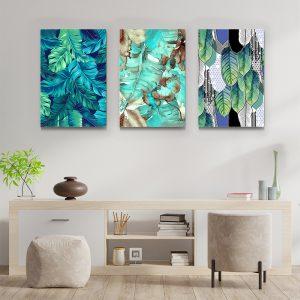 Tablou multi canvas Frunze turcoaz 3